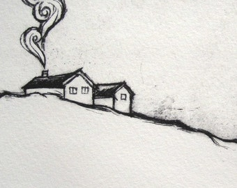 Snow House drypoint print