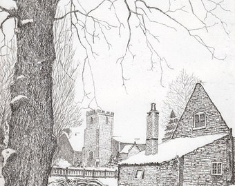 A Cottage Under Snow- Etching