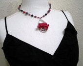 Red Black Claire Necklace (crystal, silk ribbon, gray pearl)