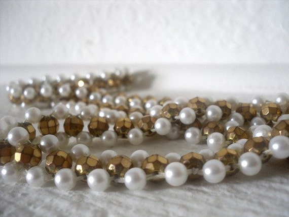 Gold and Pearls Vintage Costume Necklace