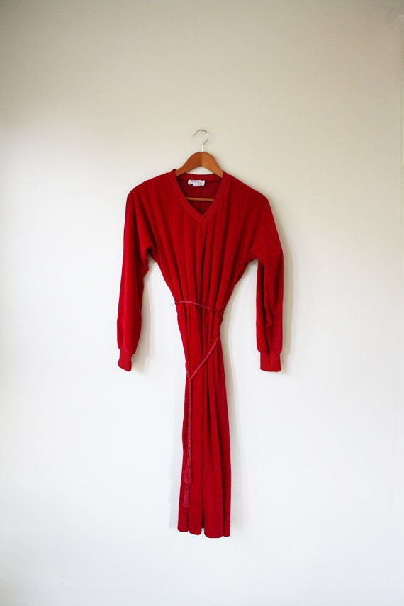 SALE red velvet  dress // long sleeve burgundy dress