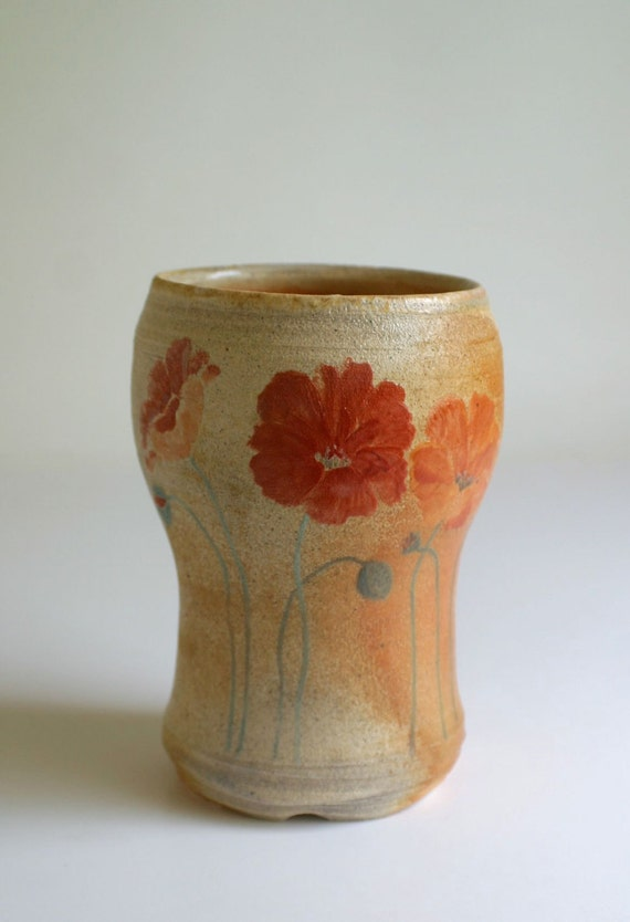 Large Poppies Cup - coffee tea water
