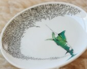 SINGLE Marlin Saucer with School of Fish