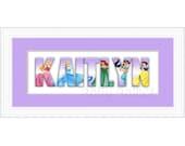 Disney Princess Custom Name Sign in Lavender - Framed
