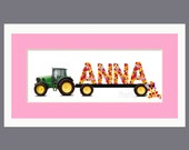 Girls John Deere Tractor with Flowers and Pink Mat Personalized Name Print - Framed