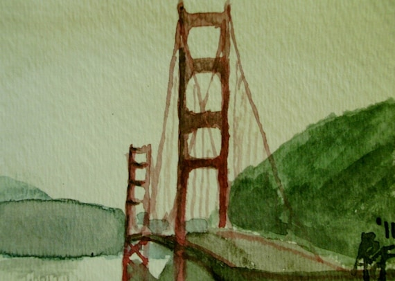 Golden Gate Bridge Miniature Watercolor Painting