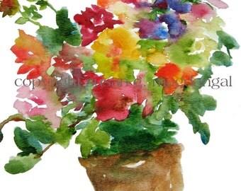 Flower Bouquet Watercolor, Fine Art Print 8.5x11, Watercolor Flowers