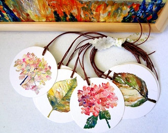 Gift Tags, Set of 10, Watercolor Flowers, Watercolor Leaves