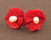 PIF - red delicious fabric flower earrings