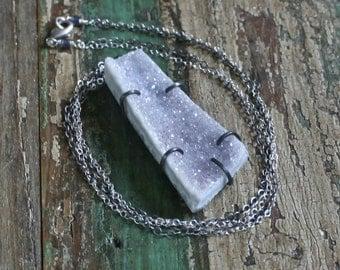 SALE Sparkling Grey Druzy Necklace