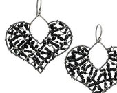 Large Sterling Silver and Onyx Heart Shaped Dangle Earrings