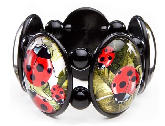 Ladybug Five-Cameo Stretch Bracelet