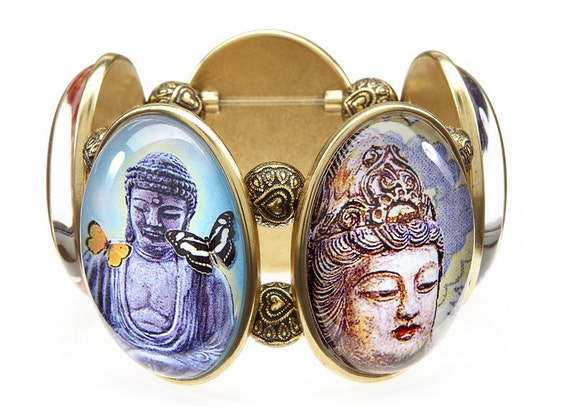 Buddhas & Butterflies Five-Cameo Stretch Bracelet