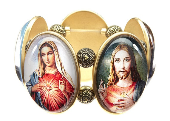 Sacred Heart Five-Cameo Stretch Bracelet