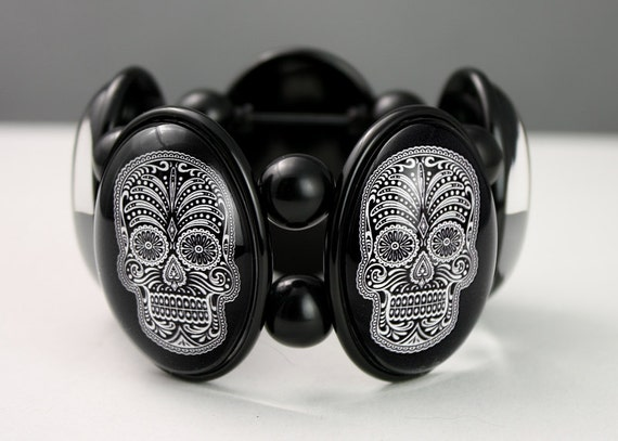 Sugar Skull Five-Cameo Stretch Bracelet