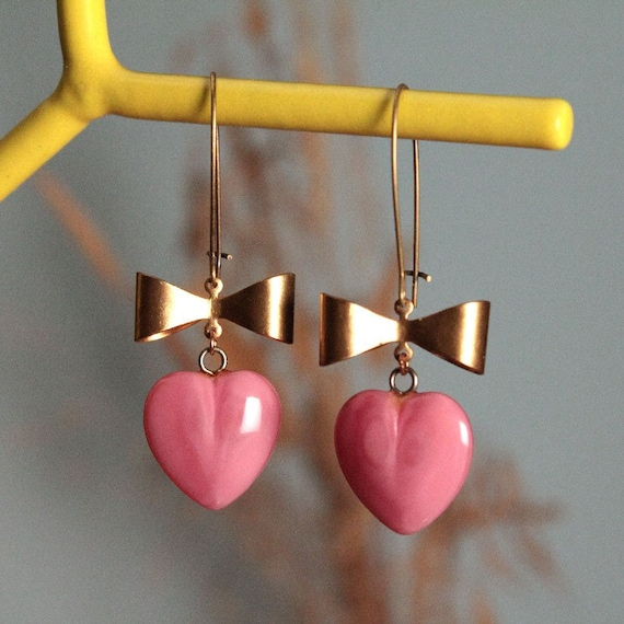 Pink Heart and Bow Earrings Free Shipping in U.S.