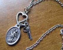 Protect Me St. Michael Police Necklace (Silver Tone)