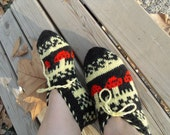 SALE Hand Knitted Turkish Home Slippers Red Ruby Mushrooms on Black Gift For Her TeamT
