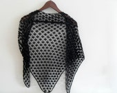 Dark Black Romantic Shawl-Sale,Gift For Her, Mothers Day,Party, Spider Pattern With Stamp Beads TeamT