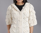 Knit Sweater, Knit Cardigan,Hooded Cardigan, Woman Sweater, Off White,Neutral Cream, Bohemian,Cocoons Medium Size Snow