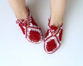 SALE Granny Square Home Slippers Garnet Slippers White Red, Ruby, Burgundy Valentines Day Gift