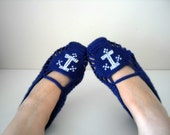 SALE Sailor Home Slippers Anchor Sea - Navy Blue And White Slippers Winter Washion Hand Embroidered Crochet Slippers