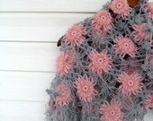 Winter Fashion-Dusty Rose And Soft Grey Tones Hand Knitted Shawl With Flowers, Angora,Pink Gray Winter Accessory-TeamT