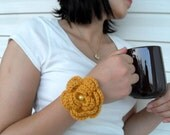 SALE Crocheted Bracelet Mustardy Yellow Earthy Christmas Gift With Pearl Bead Coffee Cup Mug TeamT