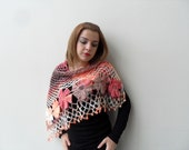 Crocheted Shawl Dahlia Flower Shawl Triangle Shawl Wrap Dusty Peach Pink Orange Light Brown Earth Tones Winter Accessory