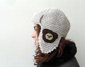 Pilot Hat, Teddy Bear Hat,Chocolate Brown, Teddy, Beige Hat, Knitted Beret, Earflap Hat, Aviator Hat