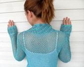 Crochet Vest Summer Top Beach Wear Lace Tank Turquoise Blue Romantic Top Summer Fashion