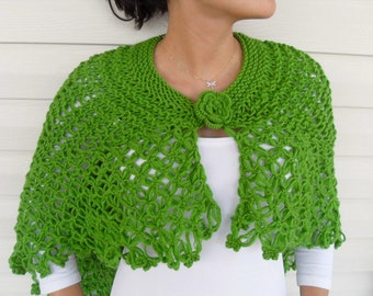 Hand Knitted Shawl, Shamrock Capelet, Poncho Pistachio Green,Natural,Organic Irish Green Ireland St Patricks TeamT