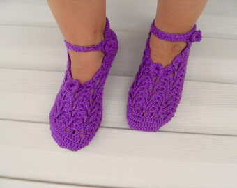 SALE Crocheted Home Slippers - Deep Purple Slippers- Valentines Day Gift Winter Fashion