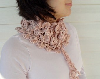 Variegated Cream And Soft Powder Pink Neckwarmer, Shawl, Sale, Light, Romantic, Blush,Light Pink,Innocence TeamT