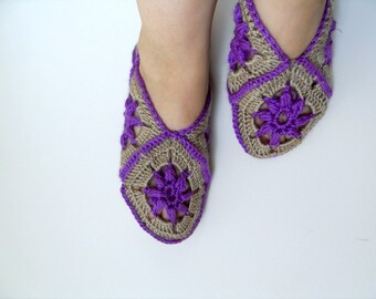 SALE Home Slippers WinterFashion Taupe And Deep Purple Square Home Slippers Traditional Turkish Design Plum Violet Amethyst