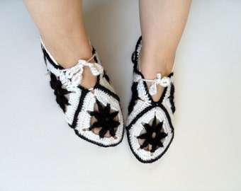SALE Square Home Slippers Crocheted Slippers Black And White Ivory Slippers Soft Winter Fashion Dark Stars