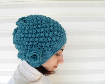 Teal Hat, Knitted Teal Hat, Slouchy Hat, Ribbed, Chunky Hat, Beanie,Beret,Gift For Her, Gift Under 30