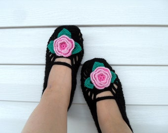 SALE Turkish Home Slippers Pink Flower On Black Slippers- Valentines Day Gift Winter Fashion Hand Crocheted Slippers