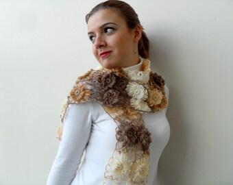 Crochet Shawl, Ombre Shawl, Mocha, Brown, Latte, Beige, Earth Tones,Neckwarmer, Crochet Neck Warmer,Lovely Flowers,Multicolor
