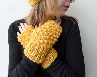 Hand Knit Fingerless Gloves, Yellow Gloves, Mustard Gloves Blackberry Knit Bubbles, Popcorn Knit, Lemon Yellow Sun Shine, Winter Fashion