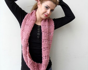 Loop Scarf Hooded Scarf in Rose Pink Blush Carmine Crimson Knitted Shawl Spring Fashion Winter Accessory Chunky Hood