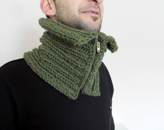 Men Scarf, Gift For Dad, Men Cowl, Olive Green Neckwarmer, Hand Knit Chuncky Neckwarmer, Valentines day gift for men Metal Zip