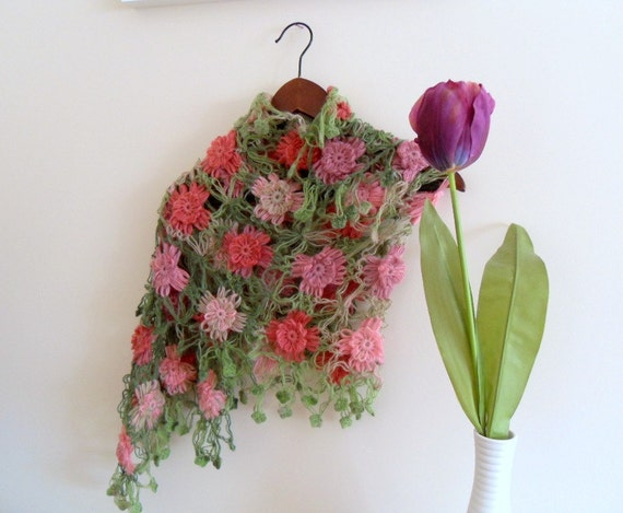 Winter Fashion-Hand Knitted Shawl With Colorful Variegated Degrade Flowers, Angora,Pink Green Purple-TeamT