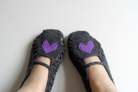 SALE Crochet Slippers Purple Heart On Grey Home Slippers  Hand Embroidered Valentine Day Gift Amethyst Deep Royal Violet