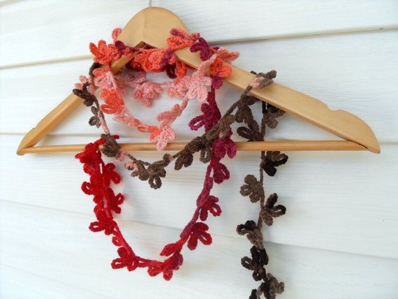Crochet Lariat Colorful Flowers Rainbow Scarf Multicolor Earth Tones Brown Salmon Pink Red Orange TeamT