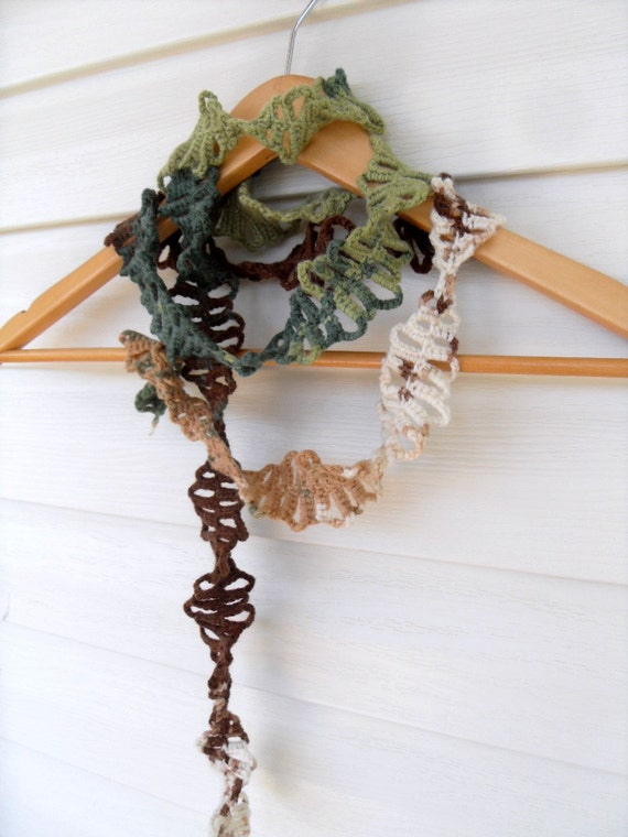 Crochet Lariat Greeny Herringbone Scarf Multicolor Earth Tones Brown Green Cream TeamT