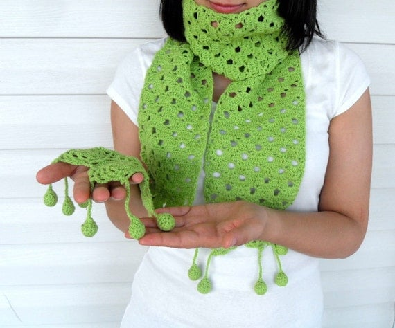 Crochet Scarf, Pistachio Green Shawl, Lime Neck warmer, Hand Knitted Shawl, With Pon Pon Winter Accessory TeamT
