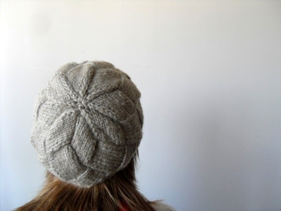 Hand Knitted Hat Earth Tones Taupe Light Brown Ribbed Chunky Cute Hat,Pure Pale,Beanie,Mesh Beret,Spring Fashion Winter Accessory TeamT
