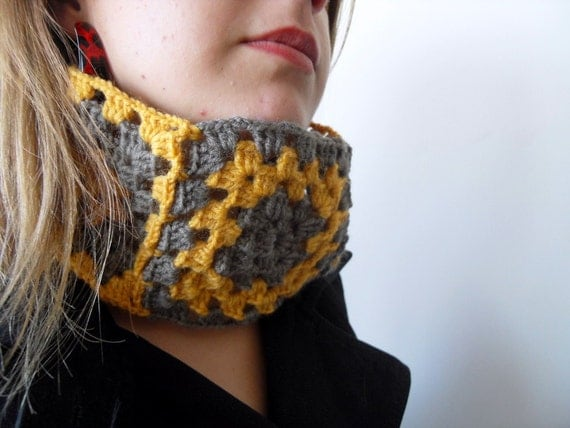 Winter Fashion-Crochet Neckwarmer,Mustard And Taupe,Christmas Gift,Citrine Shawl,Khaki,Earth Tones,Thanksgiving Gift Granny Square TeamT