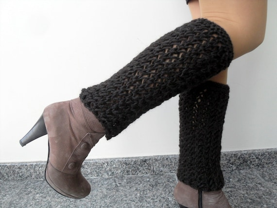SALE Winter Fashion-Chocolate Brown Legwarmers- Hand Knitted Long Leg Warmers Boot Cuffs Boot Cover Espresso TeamT